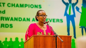 H.E Jeannette Kagame speaks at Youth Connekt Champions and Young Rwandan Achievers Awards 2017
